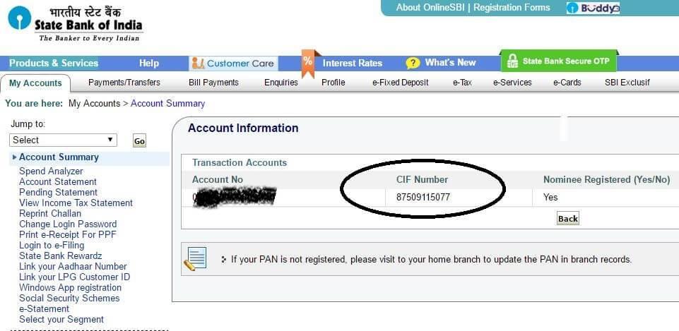 CIF number of SBI online