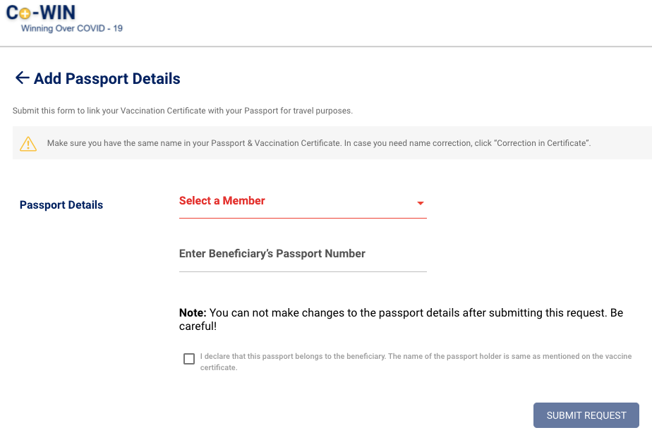 link passport to covid certificate