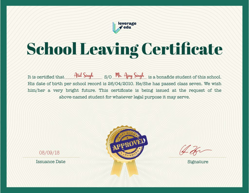 school leaving certificate online
